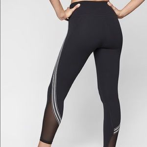 ATHLETA High Rise 7/8 Legging Stripe Mesh Black XS